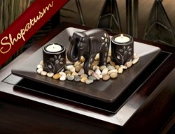 12 Centerpieces Exotic Chocolate Elephant Candle Holders Plate Sets