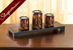 Exotic Centerpiece Safari Carved Elephant Candle Holder Set