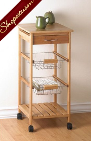 Osaka Kitchen Cart Bamboo Top Utensil Drawer Baskets Shelves