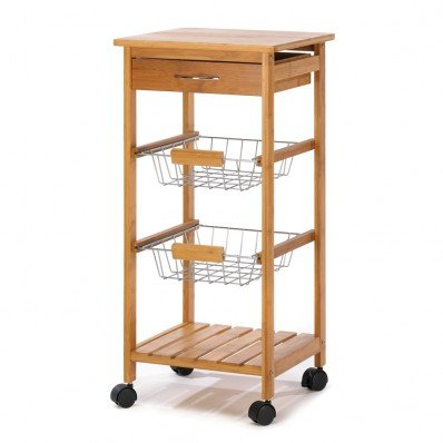 Image 1 of Osaka Kitchen Cart Bamboo Top Utensil Drawer Baskets Shelves