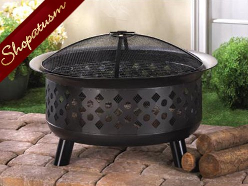 Black Geometric Backyard Garden Mesh Top Fire Pit