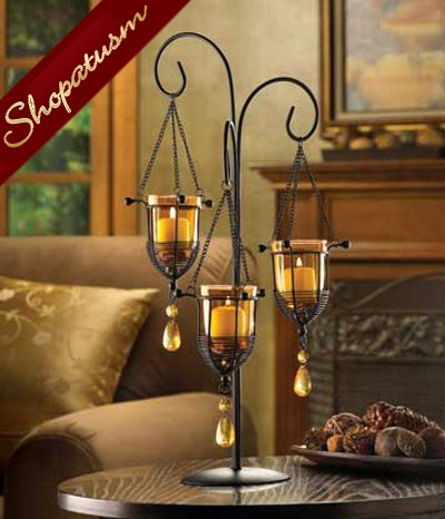 30 Amber Crystal Drop Hanging Candelabra Wedding Centerpiece