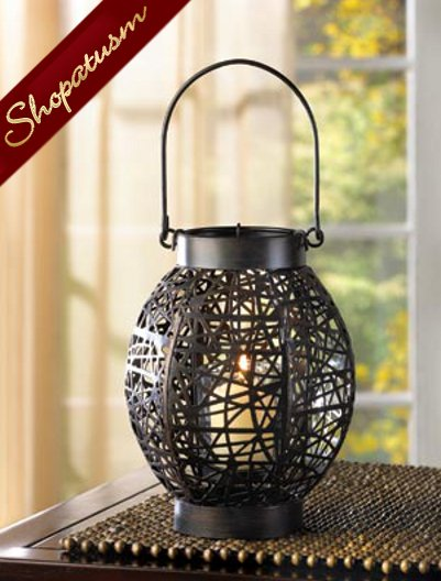 30 Party Candle Lantern Centerpiece Black Spellbinder Webwork