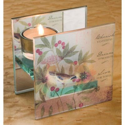 Image 0 of Beautiful Serene Floral Mirrored Back Candle Holder