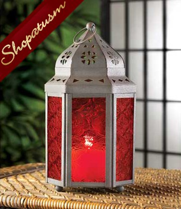 30 Moroccan Centerpiece Candle Lantern Rich Garnet Red