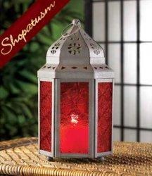 10 Centerpiece Rich Garnet Red Moroccan Candle Lantern