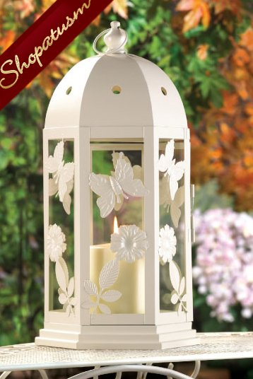 20 White Garden Butterfly Blooms Wholesale Wedding Candle Lanterns