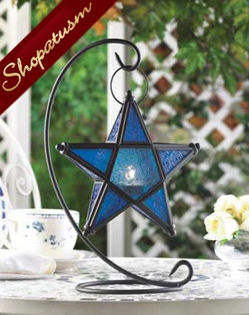 60 Star Table Lanterns Sapphire Blue Hanging Centerpieces