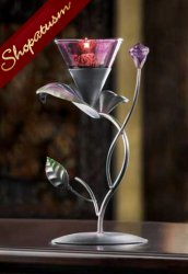 Elegant Purple Lilac Lily Floral Candle Holder Centerpiece