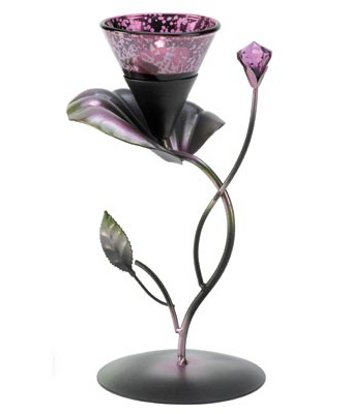 Image 1 of 60 Lily Floral Candle Holder Elegant Purple Lilac Centerpiece