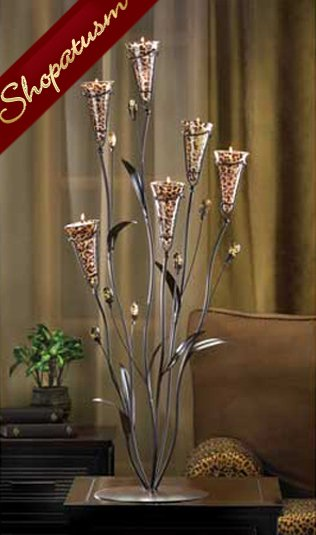 60 Candelabra Centerpieces Leopard Large Lily Blossom Candle Tree