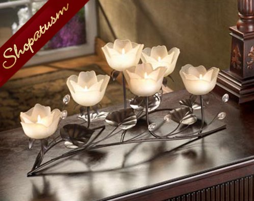 25 Frosted White Lotus Elegant Rustic Centerpiece Candelabra