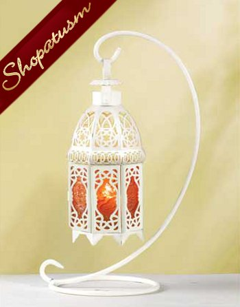 Image 0 of White Hanging Amber Glass Moroccan Candle Lantern Centerpiece