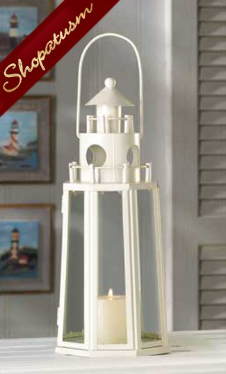 36 Lanterns Ivory Centerpieces Nautical Lighthouse Candle Holders