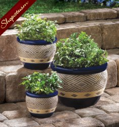Cobalt Blue Ceramic Indoor Outdoor Garden Planters Set of 3