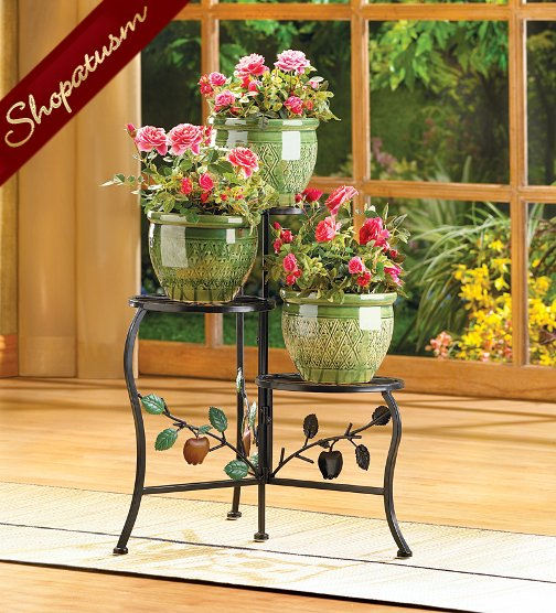 Wrought Iron Country Style Apple Motif 3 Tier Plant Stand
