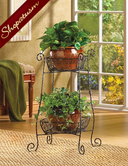 Wire Basket Two Tier Plant Stand Wrought Iron Curlicues
