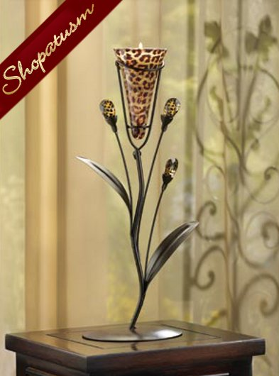 Leopard Lily Single Candle Tree Candle Holder Centerpiece