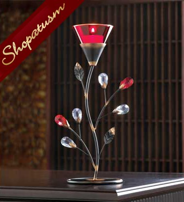 24 Red Ruby Centerpiece Blossom Tealight Candle Holder