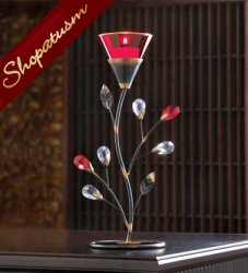 12 Centerpiece Red Ruby Blossom Tealight Candle Holder