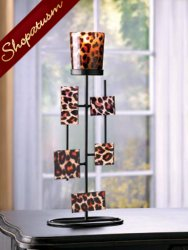 10 Centerpiece Geometric Leopard Votive Stand Candle Holder