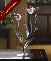 Claret Flower Floral Candelabra Candle Holder Centerpiece