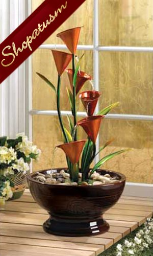 Calla Lily Table Fountain, Lily Centerpiece, Decorative Water Fountain