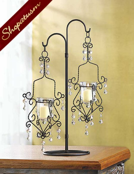 48 Wedding Crystal Drop Candelabra Centerpiece Black Candle Holder