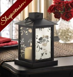 10 Centerpiece Black Cutouts Floral Mirrored Candle Lantern