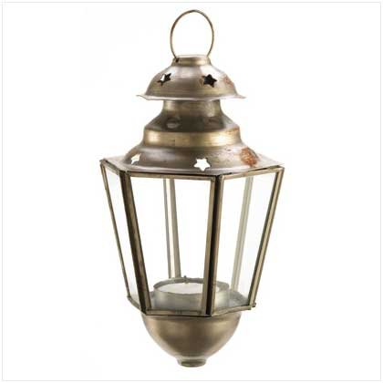 Image 0 of 30 Coach Style Star Candle Lanterns Brushed Pewter Hanging