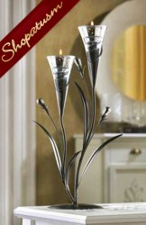 10 Floral Silver Dawn Lily Candle Holder Wedding Centerpiece