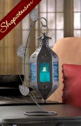 12 Wholesale Lanterns, Blue Sapphire Glass Lantern & Stand, Bulk Lot