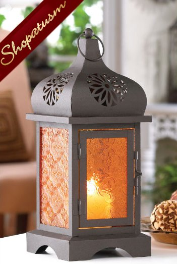 Amber Sunset Temple Candle Moroccan Black Lantern