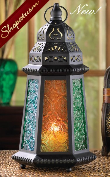 Desert Green Amber Moroccan Candle Lanterns Centerpiece