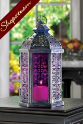 48 Pewter Ornate Candle Lamp Royal Fuchsia Wedding Lanterns