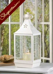 10 White Wedding Centerpiece Ivy Vine Large Candle Lantern