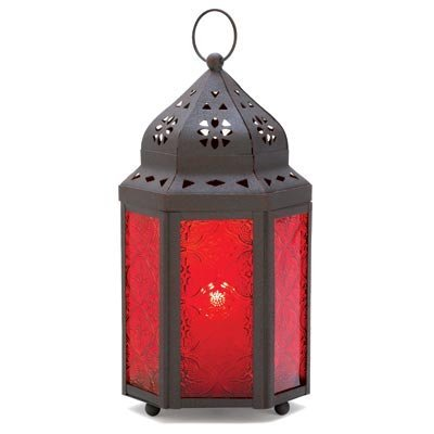 Image 1 of 30 Moroccan Centerpiece Candle Lantern Rich Garnet Red