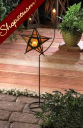 Amber Glass Black Star Candle Lantern with Stand