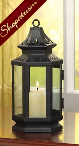 Black Stagecoach Candle Lantern Table Centerpiece Small