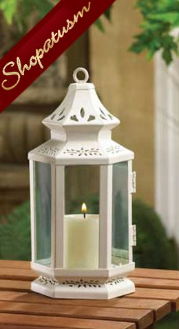 Small White Victorian Stagecoach Candle Lantern Centerpiece