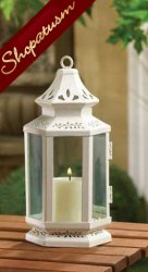 24 Small Candle Lantern Centerpiece White Victorian Stagecoach