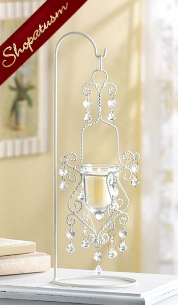 Image 0 of 20 Shabby Ivory Centerpiece Elegant Crystal Drop Candle Holder