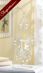 12 Ivory Centerpiece Elegant Shabby Crystal Drop Candle Holder