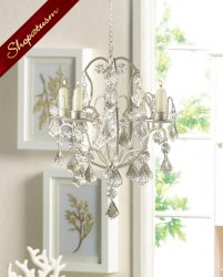 Ivory Baroque Curlicues Crystals Beads Hanging Chandelier
