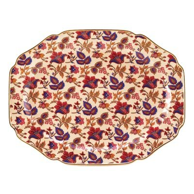 Jaipur Garnet Sapphire Cream Gold Rimmed Ceramic Serving Tray