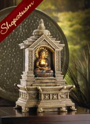 Sacred Space Tabletop Fountain Golden Buddha Temple Serenity