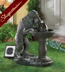 Faux Bronze Fountain, Parched Dog Solar Fountain, Dog Sculpture Fountain