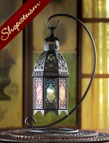 48 Rainbow Centerpieces Black Moroccan Glass Lantern with Stand