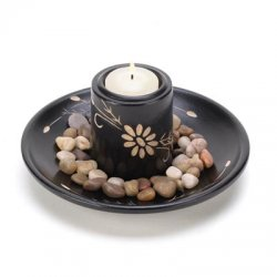 10 Carved Black Wood Daisy Deluxe Pebble Candle Holder Set