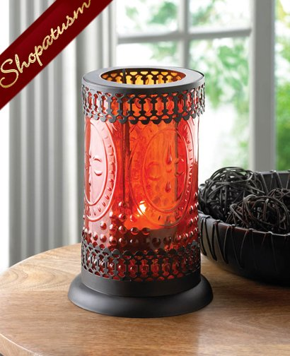 Centerpiece Standing Lacework Amber Glass Candle Lantern